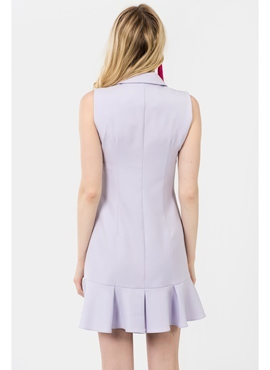 İroni Kolsuz Volanlı Kruvaze Elbise Lila